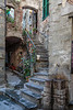 A narrow stairway in the vilage of Corniglia, Cinque terre, Italy, Europe.