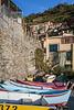 Colorful fishing boats in Manarola, Cinque terre, Liguria, Italy, Europe.