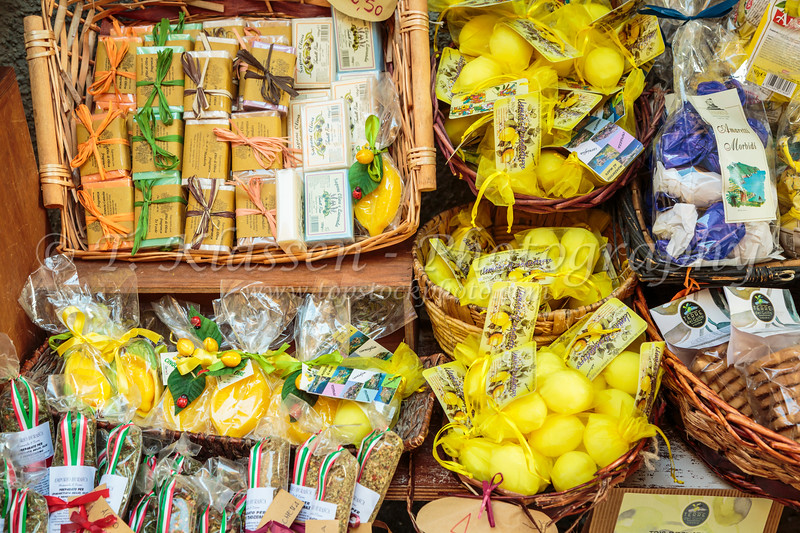 Products displayed for sale in the shops of Manarola, Cinque terre, Liguria, Italy, Europe.