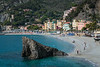 The large rock and sandy beach in Monterosso al Mare, Liguria, Italy, Europe.