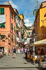 A shopping street with tourists in Monterosso al Mare, Liguria, Italy, Europe.