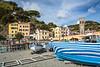 Colorful boats on the beach in Monterosso al Mare, Liguria, Italy, Europe.