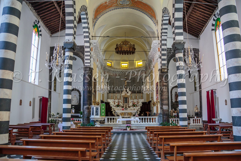 The St. John the Baptist church interior in Monterosso al Mare, Liguria, Italy, Europe.