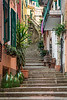 Shops and storefronts with stairs in Monterosso al Mare, Liguria, Italy, Europe.