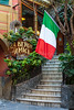 The Italian flag with stairs in Monterosso al Mare, Liguria, Italy, Europe.