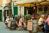 An outdoor restaurant in Monterosso al Mare, Liguria, Italy, Europe.