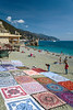 Beach blankets for rent in Monterosso al Mare, Liguria, Italy, Europe.