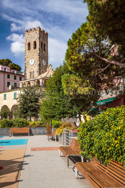 The historic clock tower in Monterosso al Mare, Liguria, Italy, Europe.