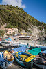 Colorful boats on the beach in Monterosso al Mare, Liguria, Italy, Europe.