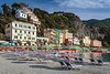 The sandy beach in Monterosso al Mare, Liguria, Italy, Europe.