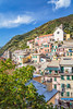 Cliffside buildings in the village of Vernazza, Cinque Terre, Liguria, Italy, Europe.