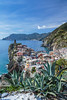 The coastline and Mediterranean Sea near the village of Vernazza, Cinque Terre, Liguria, Italy, Europe.