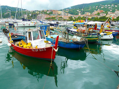 Fishing boats in the Lerici harbor
