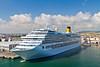 The cruise ship, Costa Serena in the port of Civitavecchia near Rome Italy.