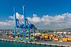 A container loading facility in the port of Civitavecchia near Rome Italy.