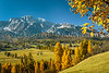 An alpine valley with fall foliage color near Cortina, Veneto, Italy, Europe.