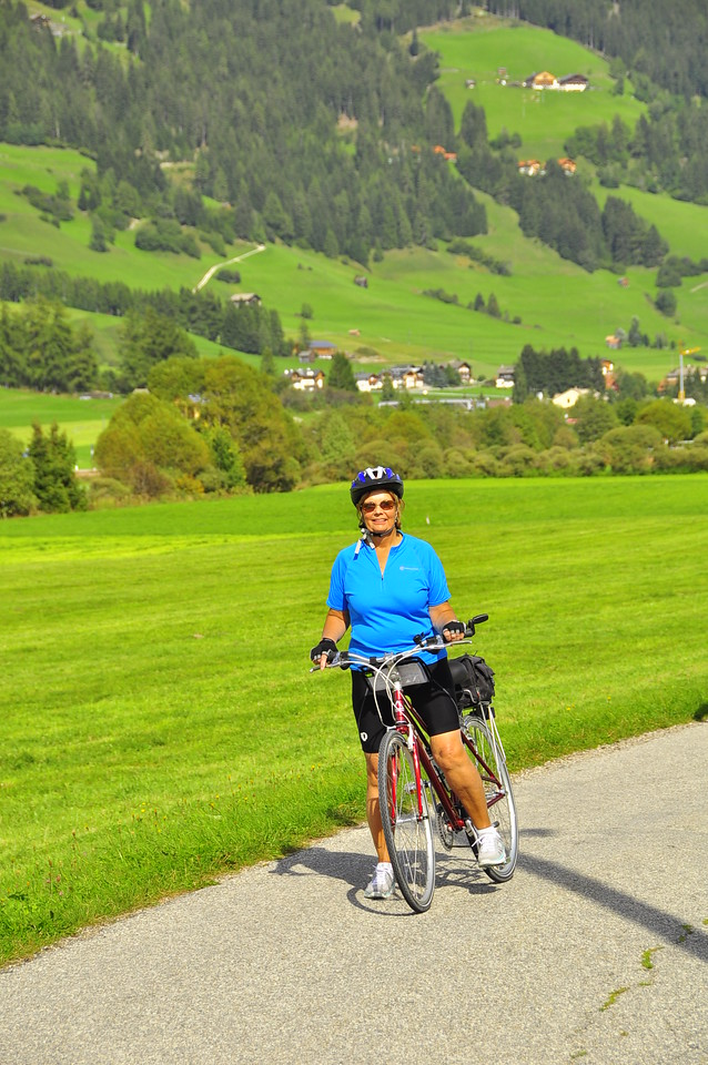 Sue is ready to ride outside of San Candido