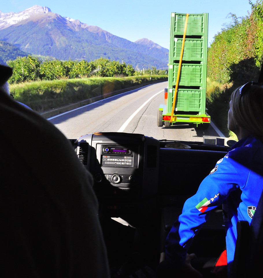 slow moving apple crates on way to Resia Lake