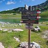 Trail markers at Lago di Limo, on our way to Capanna Alpina from Rifugio Lavarella
