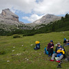 Lunch break, with impressive Cime Campestrin in the distance