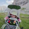 Oscar sporting his sock-mittens on a break along the trail to Rifugio Dibona