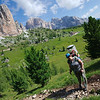 On the way to Passo Giau with the Cinque Torri in the backdrop
