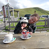 Cappucino and fresh berries on the terrace of Passo Giau