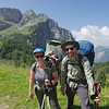 Family photo with snoozing Oscar on the trail to Rifugio Coldai