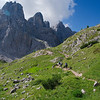 Approaching Monte Civetta on the trail to Rifugio Vazzoler