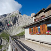 Morning view of the terrace of Rifugio Coldai
