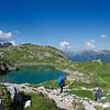 Taking the trail around Lake Coldai