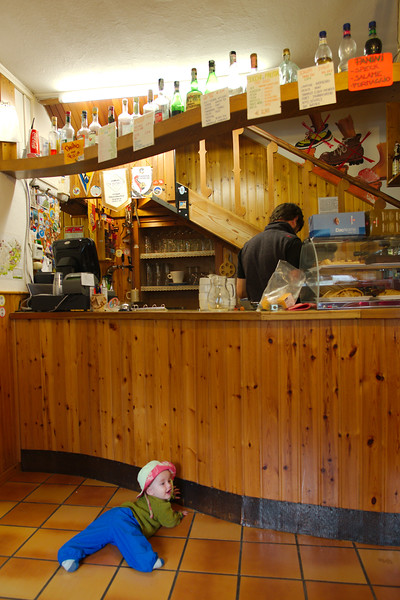 Oscar at the bar at Rifugio Vazzoler