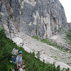 Making our way across the scree towards Forcella Col dell'Orso (Pass of the Bear)