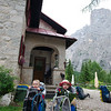 Bertie and Oscar outside Rifugio Vazzoler - ready for our last day on the AV1