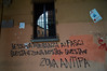 Antifa graffiti on the campus of the University of Bologna.