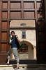 Yann posing outside a Gubbio church
