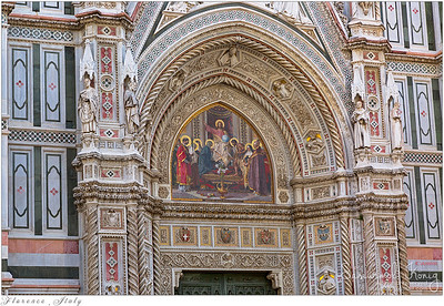 Mosaic of Jesus holding globe above Almond door of Florence Cathedral