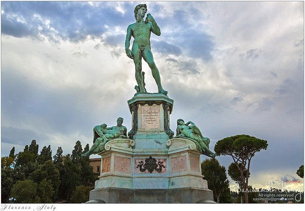 Bronze statue of David at Michelangelo Square (Piazzale Michelangelo), Florence, Italy