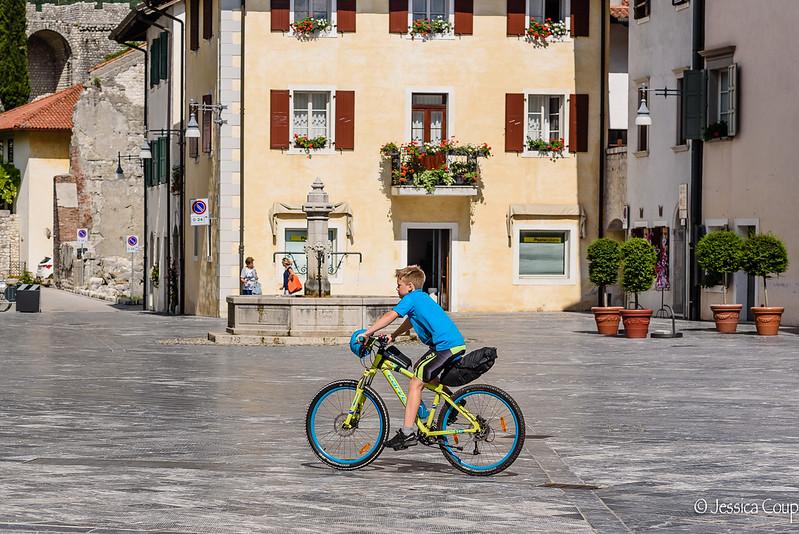 Biking Past Town Hall