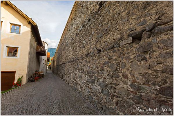 Remnants of the city wall in Glurns, South Tyrol, Italy