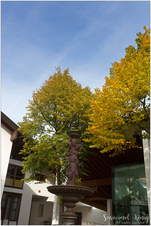 The fountain with Autumn leaves on Flora road