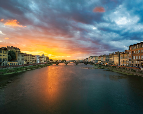 The Perfect Sunset on The River Arno