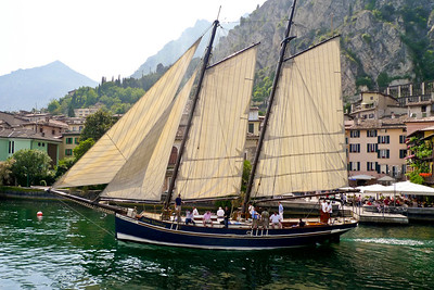 Sailing vessel on Lake Garda, Italy