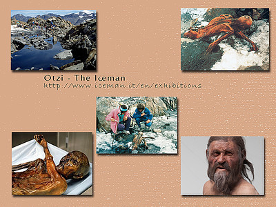 Otzi - The Iceman. For details go to his museum's website at: http://iceman.it/en/exhibitions