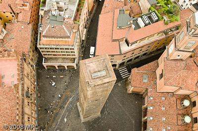 Torre pendente della Garisenda taken from the top of the Torre degli Asinelli.