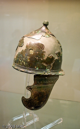 A Roman helmet at the Museo Civico