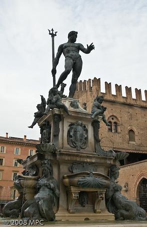 Neptune's Fountain in the Piazza Maggiore in Bologna