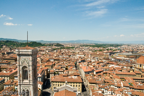 Florence from the top of the Duomo (the Campanile of the Duomo)