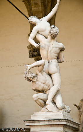 """""""The Rape of the Sabine women"""", by Giambologna (this is a replica, the original is also at the Accademia)"""