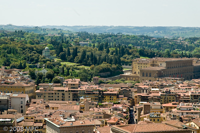 Florence from the top of the Duomo - Boboli Gardens and the Pitti Palace